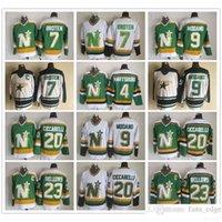 Vintage CCM Stars Ice Hockey Jersey 9 Mike Modano 20 Dino Ciccarelli 7 Néal Broten 4 Craig Hartsburg 23 Brian Bellows Vert Blanc