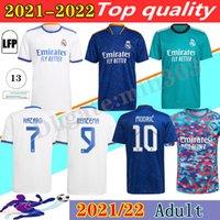 مروحة + لاعب النسخة 2021 2022 ريال مدريد الرئيسية لكرة القدم الفانيلة 21 22 Alaba Hazard Benzema Asensio Marcric Marcelo Third Camisetas De Men Football Shirts