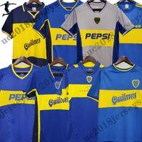 1981 1997 1999 Boca Juniors 레트로 긴 소매 축구 유니폼 01 02 03 04 05 Maradona Roman Riquelme Caniggia 팔레르모 반팔 클래식 축구 셔츠