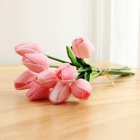 Букет тюльпаны искусственные цветы розовый золотой белый PU реальный прикосновение для домашнего сада украшения поддельных латекс свадьба используйте декоративные венки