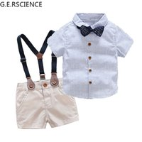 2022 Baby Boy Gentleman Clothes Set Summer Set Toddler White Shirt Bow Tie + Sling Shorts Formal Newborn