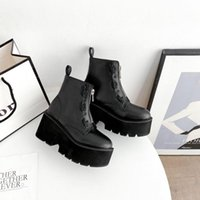 Boots Boussac Front Zip Black Punk Platform Women Round Toe Chunky Heel Ankle For Botas Mujer