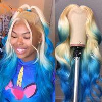 Ombre Blonde Blue Human Hair Peruka dla kobiet Glueless 13x4 HD Przezroczyste Koronki Przednia Peruki 180% Wave Ciało Kolorowe Frontal