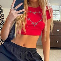 Summer Slim T-shirt Heart Rhinestone Shiny Drill Y2K Crop Top Women Vintage Aesthetic 90s Tee Casual O-neck Harajuku Female Women's