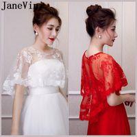 Wraps & Jackets JaneVini Trendy Beaded Bride White Red Lace Sheer Bridal Boleros Women Wedding Cape Stoles Spring Summer Amice Tippet Robe