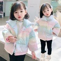 고품질 따뜻한 여자 무지개 아래로 자켓 봄 가을 어린이 코트 키즈 아기 옷 오버 코트 두꺼운 겉옷 탑스