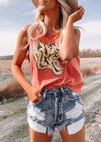 Women Designer Vest Summer Tshirt Brand Ladies Sleeveless Garment Tiger Head Print Round neck Womens Tops Tees T-shirts