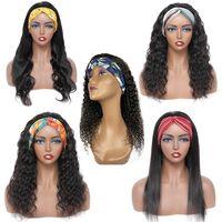 Großhandel Stirnband Perücke Menschliches Haar Anbieter Körper Tiefe Wasser Welle Für Schwarze Frauen Gerade Afro Kinky Curly Keine Spitzenmaschine Made Wigs Brasilianische Nagelhaut Alinged Haare