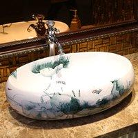 Jingdezhen Fabrik direkt Keramik Handgemalte Porzellanwaschbecken Badezimmer Waschbecken Oval Lotus Muster