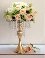 Altın demir chorme uzun boylu metal antika vazo çiçek aranjmanı zemin vazolar için parti dekorasyon
