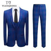 Wonderful Groom Male Wedding Prom Suit Slim Fit Tuxedo Men Formal Business Work Wear Suits (Jacket+Pants+Vest) Men's & Blazers
