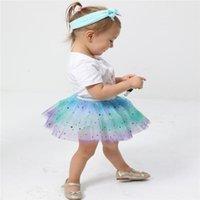 Jupes de jupes Fille Girl Girl Girl Petticoat Rainbow Pettiskirt Bowknot Jupe Tutu Tullue Dance Vêtements de danse