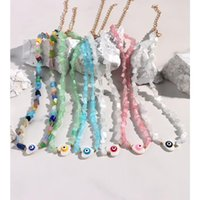 Chokers Lovely Evil Eye Natural Shell Beaded Necklace For Women Candy Color Irregular Bead Strand Handmade Choker Heart Jewelry Gifts