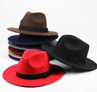 2021 New British Style Men Women Winter Wool Fedoras Cap 9.5cm Big Wide Brim Derby Wedding Church Jazz Hats fast ship