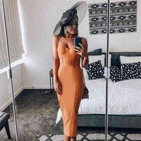 Ocstrade Spaghetti Strap Long Bandage Dress 2021 New Arrival Summer Women Orange Rayon Bandage Dress Bodycon Evening Party Dress 210322