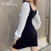 Y2k кружева лук лоскутное расщепленное платье сексуальные винтажные 90-х эстетик молочнотехня корейский бодиконку женский kawaii милая одежда iamhotty
