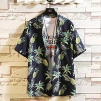 Марка для печати 2021 летняя мужская пляжная рубашка мода с коротким рукавом цветочные свободные повседневные рубашки плюс азиатский размер M-4XL 5XL Hawaiian