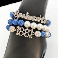 Beaded, Strands 10pcs Hand Made Greek Sorority Elastic Line White Pearl Blue Disco Ball Spelmanito 1881 Charm Bracelet Lady Jewelry