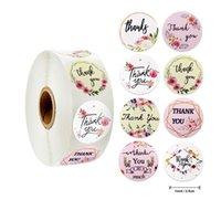 Sticker adhésif de joint adhésif de fleurs de Kimter 1.5 pouces Merci d'autocollants Papier Label 500 pour les fournitures de cadeaux de fête de mariage B249Z