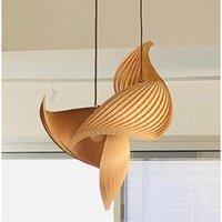 Nordic Wood Pendant Lights Lighting Villa Living Room Decoration Hanging Lamp Retro Loft Stairs Kitchen Industrial Lamps