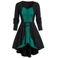 Casual Dresses Vintage Dress Women Irregular Rufflesparty Colour Block Patchwork Long Sleeve Belted Autumn Winter