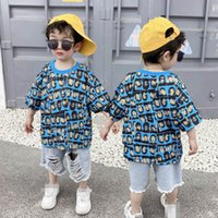 Kids Clothing Sets Boys Suit Baby Clothes Children Summer Cotton Short Sleeve Cartoon T-shirts Hole Shorts Pants Jeans Casual Outfits Wear 2Pcs 2-8Y B5204