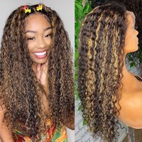 Lace Wigs Highlight Curly Front Human Hair Brown Blond Brazilian Remy T Part Wig Pre Plucked