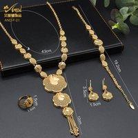 Earrings & Necklace African Gold Jewelry Set Ring Bracelets For Women Bridal Earring Nigeria Choker Wedding Gifts 24K Russian Jewellery