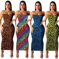 Летние повседневные платья без рукава Камизол без рукавов леопардовый печать платье платье ленса Longueett Woman одежда плюс размер S-3XL D971