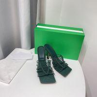 2021 Lussurys Designer Donne Sandali Sandali in rattan Strap in maglia di paglia Strap Square. Tutte le mani in fibra di cucito intrecciata intrecciata con scatola di marca e sacchetto di polvere 35-41size
