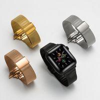 Подходит для Apple Iwatchse1 2 3 4 5 Генерация Миланский сетчатый ремень Небольшая талия Стройная нержавеющая сталь Однорантная пряжка
