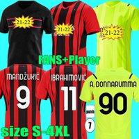 المشجعين لاعب الإصدار 21 22 AC Home Milan Ibrahimovic Soccer Jerseys 2021 2022 Tonali Theo Bennacer Rebic Mandzukic Romagnoli حارس المرمى القمصان حجم S - 4XL