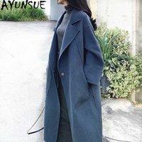 Ayunsue 100% Yün Ceket Kadın Sonbahar Kış Coat Kadınlar Çift Yan Mont Ve Ceketler Kadın Kore Uzun Ceket Chaqueta Mujer 39FZ #