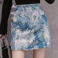 Röcke Kusahiki Frau Öl-lackierte Blumenrock 2021 Frühling Sommer Hohe Taille Kausal A-Line Mini-Bottoms Mujer Faldas 6H094
