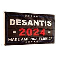 Ron Desantis 2024 아메리카 플로리다 플래그 만들기 100D 폴리 에스터 생생한 컬러 UV 페이드 저항성 더블 스티치 장식 배너 90x150cm DWD8206