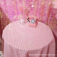 Table Cloth Pink Plaid Printed Rectangle Reusable Tablecloth