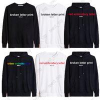 2021 Autumn Europe Designer Sudaderas con capucha lujo para hombres para mujer Bordado clásico Bordado Broken Rainbow Carta París Sudadera Algodón Casual Pullover Hoody