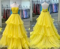 Fashion Yellow Long Princess Prom Bridesmaid Dresses 2022 Strapless Layered Organza Pleated Crystal Ribbon Ruched Party Pageant Evening Formal Gowns