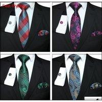 목 넥타이 세트 격자 무늬 시리즈 패션 남자 클래식 실크 hanky 커프스 단추 자카드 짠 넥타이 비즈니스 TTA-1116 LDZ0G MW0A MW0A