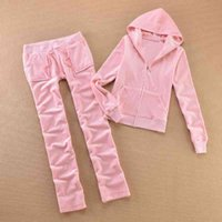 Spring   Fall 2021 Women's Brand Velvet fabric Tracks Solid color Velour women Track suit Hoodies and Pants sapphire