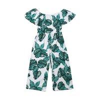 Niño pequeño niña boho mameluco 3-8y princesa moda verde hoja de impresión de ropa ruffles manga emitros trajes de verano