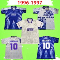 1996 1997 RETRO 축구 유니폼 빈티지 REAL MADRID 96 97 축구 셔츠 클래식 홈 어웨이 세 번째 RAUL SEEDORF ROBERTO CARLOS REDONDO MIJATOVIC HIERRO SUKER