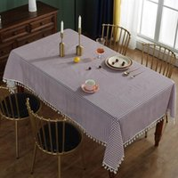 Table Cloth Garden Checkered Home Decor With Tassel Tabletop Cotton Blend Dinning Anti Scratch Easy Clean El For Party