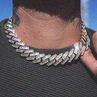 CHOKERS Top Qualität Euro aus Bling Hip Hop Männer Junge Schmuck 2021 Heavy Chunky Rechteck CZ 19mm Kubanische Kette Halskette
