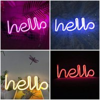 Night Lights HELLO Neon Sign Light Greeting Alphabet LED Lamp Decor Home Party Background Wall Bedroom ( USB & Battery Case Powered )