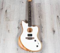 Rare Acoustasonic Jazzmaster Arctic White Electric Guitar Polyester Satin Matte Finish, Mahogany Body, Chrome hardware, Vintage Tuners