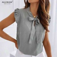Blouses manches courtes Chemise Summer Bow dentelle à lacets Polka Dot Femme Ruffle Pullover Vintage Blusa Muyogrt Shirts Femme Sexy Tops 210324