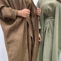 Ethnic Clothing 3 Piece Matching Set Women Muslim Dubai Arabic Modest Outfit Plain Kimono Open Abaya Maxi Dress Wrap Front Skirt Long Eid