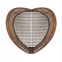Wholesale черный сандаловое дерево в форме сердца бочонка щетки для волос дерева массаж прямые волосы расчески для влюбленных
