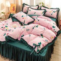 Bedding Sets Thin Korean Princess Style Bedroom 4pcs Set Non-Slip 1pcs Quilt Cover+1pcs Bed Skirt+2 Pillowcase King Queen Size J8187